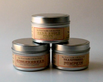 Set of Three Soy Candle Tins / Holiday Scented Candles