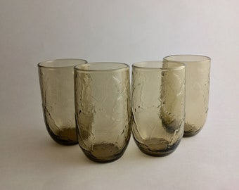 Vintage Smokey Brown Textured Juice Glasses 1970's  Set of 4