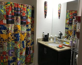 African Print Shower Curtain and Toilet Seat Cover