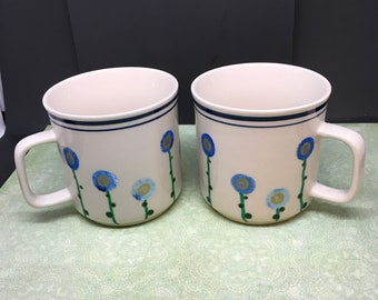 Cups or Mugs Coffee Tea Hand Painted Blue Floral EHI One of a Kind Unique Kitchen Decor Country Decor Gift Idea Drinkware Barware Set of 2