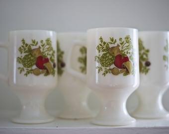 Vintage Milk Glass Pedestal Mugs -  Spice of Life Pattern