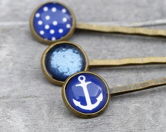 3 bobby pins - Marine Dots - Anchor