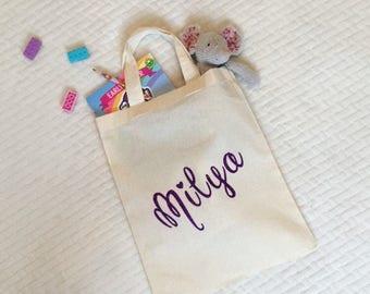 Personalised mini tote bag, mini tote bag, kids tote bag, any name tote bag, any quote tote bag, girls tote bag, boys tote bag