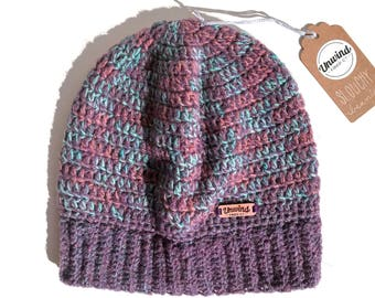 Purple & Blue Slouchy Beanie - Wool and Acrylic