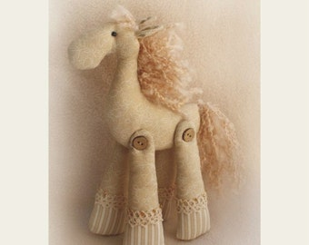 Rag doll DIY Kit to sew Horse Tilda style primitive cloth doll sewing pattern/dollmaking materials beige cotton fabric softie toy Hand made