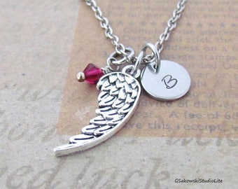Angel Wing Charm Necklace, Personalized Hand Stamped Initial Birthstone Antique Silver Wing Charm Necklace