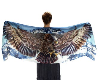 Mountain Eagle Scarf, cotton Scarf, Women Shawl, Wings Wrap, Eagle Shawl Wrap, Birds Scarf, Wearable Art, Feather Scarf