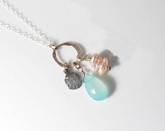 Sand Dollar necklace   Green Stone necklace   Beach necklace with Pearl   Pink Pearl necklace   Delicate necklace   Beach Jewelry Beach Gift