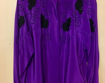 Lillie Rubin 100% silk  purple with black beading size 10