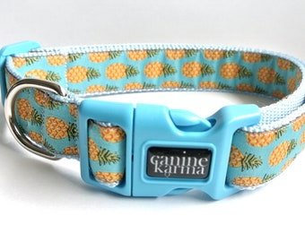 "Blue Pineapple Dog Collar - 1"" Adjustable Pineapples Spring Collar"