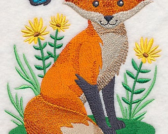 Woodland Fox Embroidered Flour Sack Hand/Dish Towel