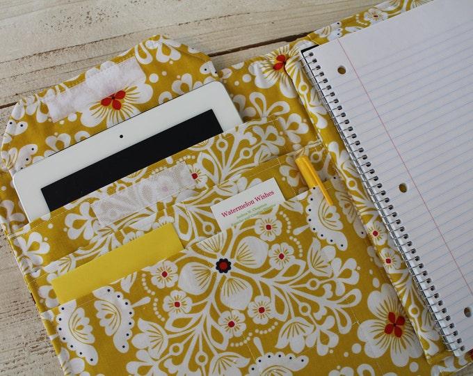 Spiral Note Pad iPad Desk Organizer Fabric Cover
