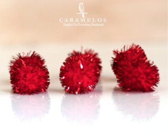 6 pcs of Large Red Tinsel Pom Poms 1""