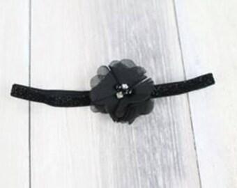 Black Vintage Tulle Flower Headband Photo Prop