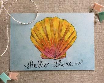 set of 4 - shello there postcard - sunrise shell art