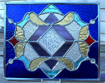 Purple, Yellow, Sky Blue, Cobalt Blue and Red Stained Glass Panel