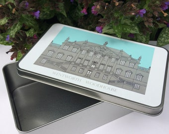 SOLD OUT Wentworth Woodhouse illustrated, illustration Metal Tin, freehand stitch, stately home, architecture, building, Yorkshire