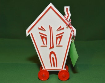 Haunted House Logo Vintage Style Toy on Wheels 3D Printed Plastic Holiday Christmas White Red