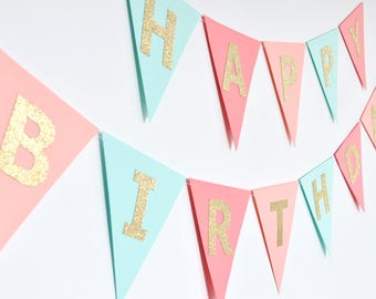 Coral Peach Mint Gold Birthday Banner, Triangle Flag Bunting, Paper Garland, Birthday Party Decor