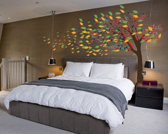 """Blowing Cherry Blossom Tree Nursery Wall Decal Wind 1181 (72"""" High x 120"""" Wide)"""