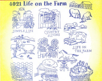 Vintage Aunt Martha's Hot Iron Transfers, Embroidery, Pattern, Needlepoint, Aunt Martha, Hot Iron, Transfer, 4021, Life On The Farm