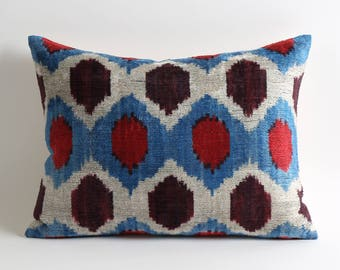 ikat velvet pillow, 12x16 ikat pillow cover, velvet cushion, velvet ikat pillow, silk, handmade, pillows, cushion, velvet pillow cover