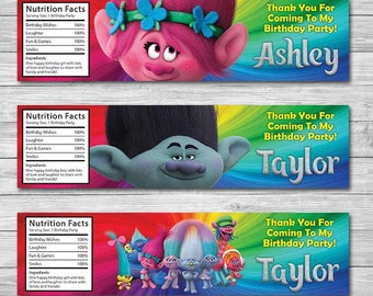 Trolls Water Bottle Label, Trolls Poppy Label, Trolls Branch Label, Trolls Birthday, Personalized Digital Printable Water Bottle Label