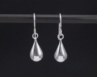 Teardrop Earrings, Sterling Silver Drop Earrings, Simple Silver Earrings, Sterling Dangles