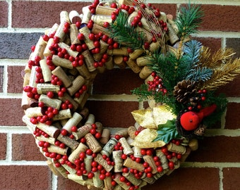 Holiday Wine Cork Wreath with Cardinal and Greenery with Berries, Wine Corks, Wine Cork Home Decor, Christmas Wreath, Holiday Wreath