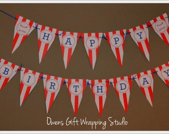 Baseball Happy Birthday Banner, Baseball Birthday Decorations, Baseball Party Decorations by Owens  Celebrations