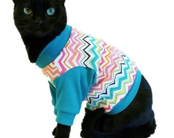 Teal Cat Shirt-Cat Clothes-Cat Shirts-Cat Clothing-Cat Sweater-Clothes for Cats-Sphynx Cat Clothes-Clothes for Sphynx-Shirts for Cats