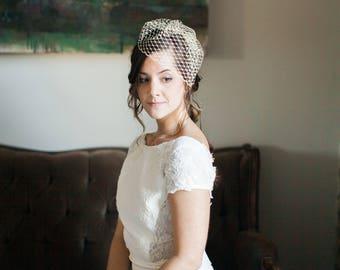 Mini Birdcage Veil, Birdcage Veil, Short Veil, Wedding Veil, Bridal Headpiece, Voilette, Fascinator Veil- Style 205- Alana