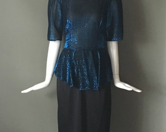 Super Fun Vtg 80s Karat Club Sapphire Blue Metallic Peplum Disco Party Dress Attached Sash Belt 7 8 S M