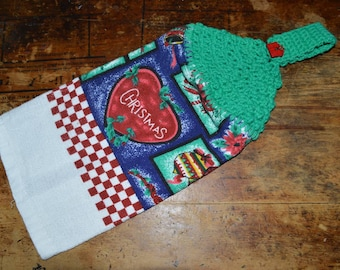 Hanging Kitchen Towel Crochet Christmas