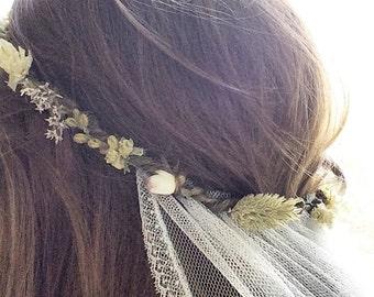 Wedding veil, flower crown, bridal flower crown, flower crown veil, veil, dried flower crown, boho veil, boho wedding veil, bohemian veil