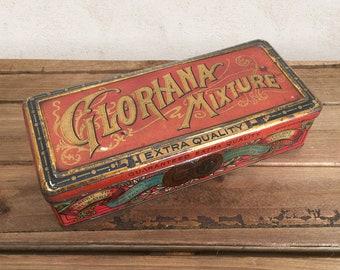 Vintage Tobacco Tin, Gloriana Mixture Tobacco Can, Tobacciana Collectible, General Store Advertising Tin / Farmhouse Primitive Rustic Decor