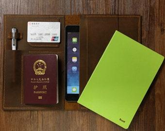 A5 Moleskine Agenda notebook leather cover portfolio / distressed leather ipad mini cover / travel journey leather cover organizer -NA5005T