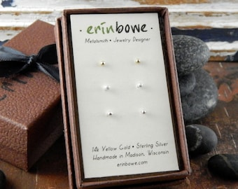 Tiny studs gold & silver earring set, 14k gold studs, yellow gold or rose gold and 2 pair sterling silver balled studs, post earrings