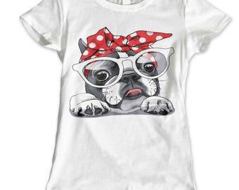 Girls Womans Dog Pug Celeb Girly Princess Tumblr Fairies Bulldog Glam T Shirt