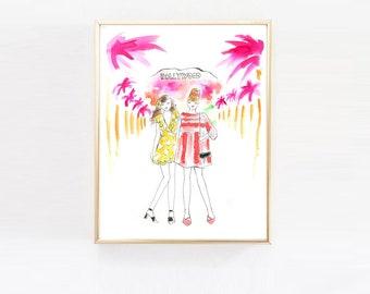 Best Friend Print,Los Angeles Art Print, Fashion Illustration Print, Watercolor Art, Vanity Arty,Home Decor, Hollywood, California