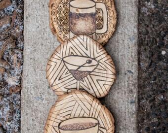 3 Woodburning Coaster set - *made to order
