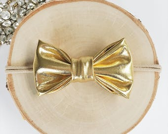 Gifts for her, Gold bow, gold baby bow,baby bow, baby girl bows, small bows, infant bows,hair bow, newborn bows,hair clip,baby photo prop