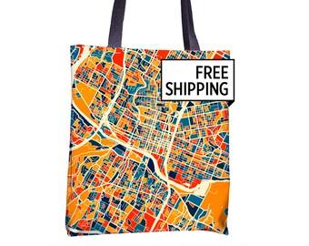 Austin Map Tote Bag - Texas Map Tote Bag 15x15