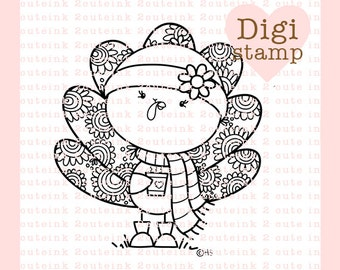 Hot Chocolate Turkey Digital Stamp - Fall Stamp - Digital Fall Stamp - Turkey Art - Turkey Card Supply - Fall Craft Supply