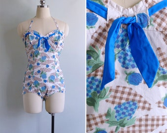 Vintage 50's 'Strawberries & Roses' Novelty Cotton Smocked Swimsuit L or XL