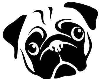 Pug Dog - Pug Dog Decal - Pug Dog Sticker - Dog Decal - Yeti Dog Decal - Pug Dog Car Decal