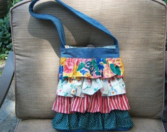 Ruffled Denim Purse with Multi-colored Ruffles