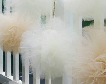 "XL tulle pom pom beige, cream, and other custom colors 13"" inch diameter for Weddings nurseries  and more!"