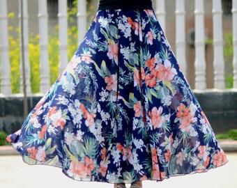navy floral skirt,chiffon skirt,long summer skirt,chiffon maxi skirt,full skirt,long skirt,boho maxi skirt