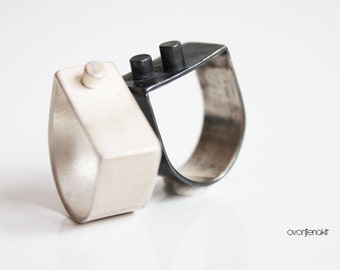 White Silver modern wide band Minimal sterling silver statement ring Original contemporary modernist geometry jewellery Wedding silver ring
